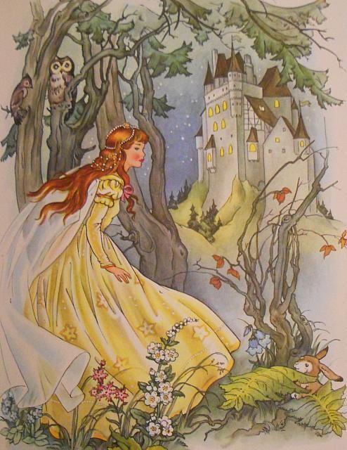 Grimms' Fairy Tales - Cinderella Full Colour Illustration (a)