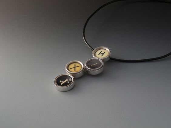 Marco Fleseri, Hixx Pendant, sterling silver, antique typewriter key caps