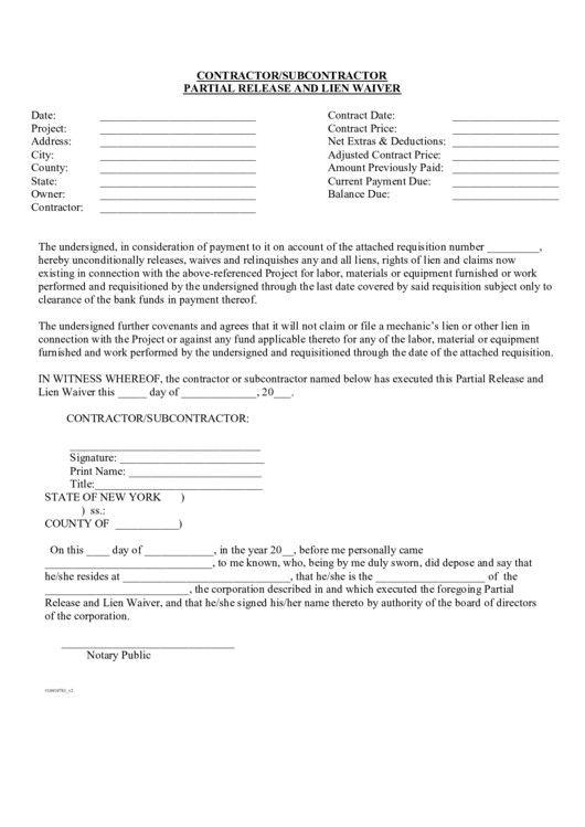 Subcontractor Lien Release Form Best Of Contractor Subcontractor
