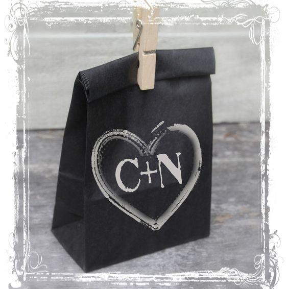 Chalkboard Favor Bags - Black Kraft Paper