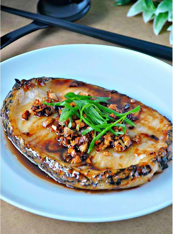 Cod Steak with Toasted Garlic and Oyster Sauce   1mrecipes