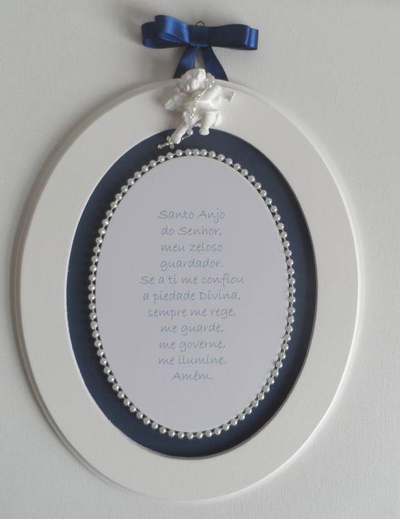 Quadro Oração Santo Anjo Azul Marinho da ciaartes.com.br