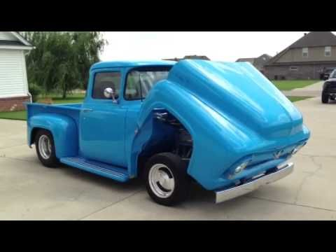 1956 Ford F150 Custom Petty Blue Hood Tilt Youtube Ford F150 Custom Custom F150 Ford Trucks F150