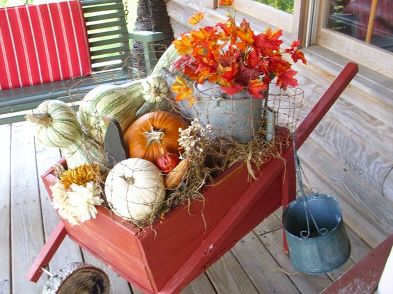 Vintage Wheelbarrow for Fall decorations