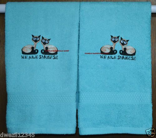 WE ARE SIAMESE CATS - 2 EMBROIDERED HAND TOWELS by Susan