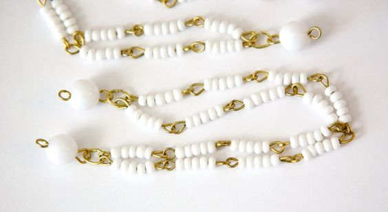 Vintage White Beaded Double Strand Chain by yummytreasures on Etsy, $2.99