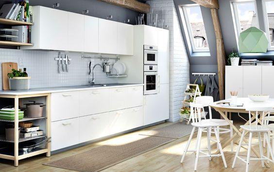 Ikea Floor Lamp Glass Shade ~ Eine weiße METOD Küche mit VEDDINGE Fronten in Weiß