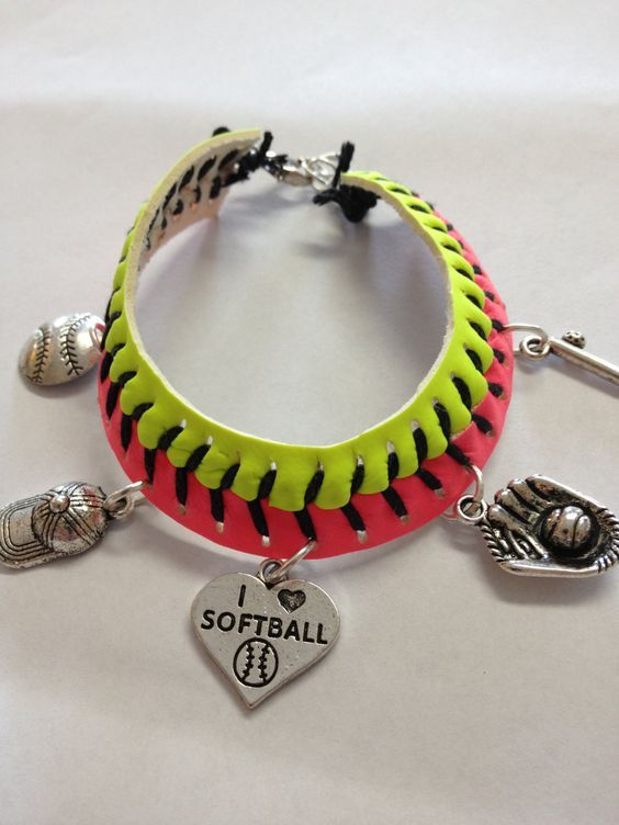 Softball Charm Bracelet by ScoreMemories on Etsy, $20.00