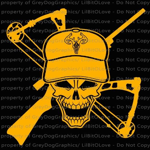Hunting Skull Vinyl Decal Sticker With Buck On Hat Crossbow And - Custom vinyl decals for cardeer skull gun rifle hunting car truck window wall laptop vinyl