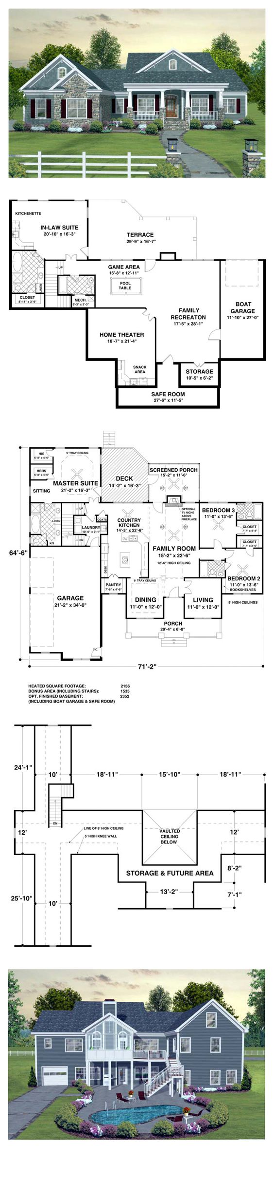 Craftsman european traditional house plan 93483 for Craftsman floor plans with basement