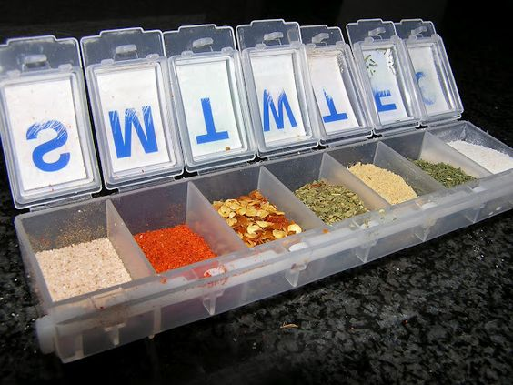 Brilliant space saver....get a 7 day medicine organizer and fill each compartment  with spices for CAMPING!! (you can print labels for the tops to know what each one is).