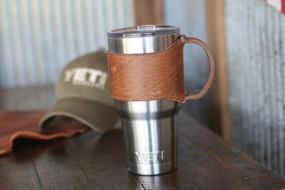 The Rocket City 30 oz Yeti Personalized Leather Drink Cooler Wrap with Handle…