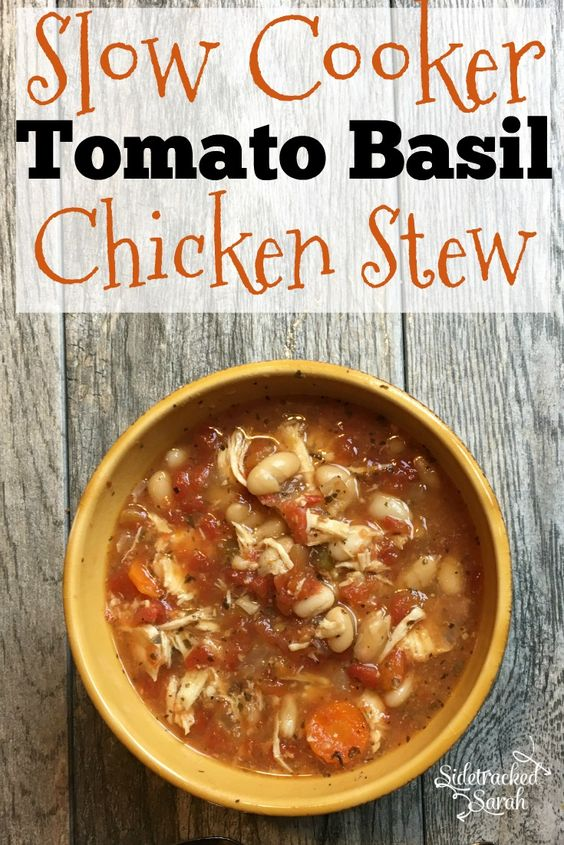 This amazing Tomato Basil Chicken Stew has been simmering in my slow cooker all day.  The smell is amazing!   via @SidetrackSarah