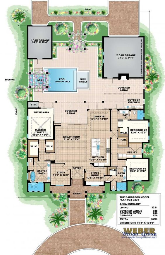 Olde florida floor plan barbados house plan by weber for Weber house plans