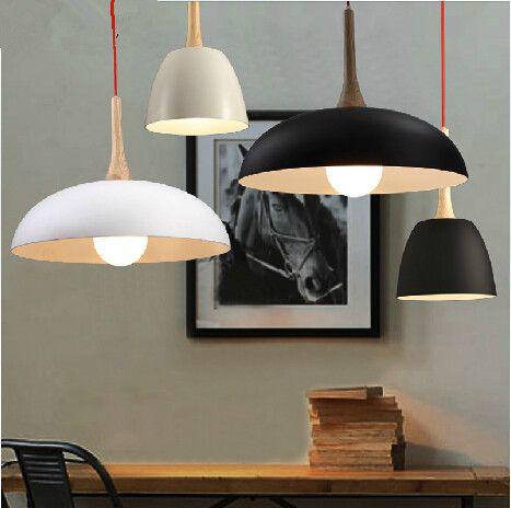 Pas cher moderne en bois de lumi re pendentif et lampe en for Luminaire suspendu blanc