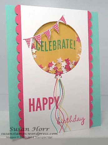 Celebrate Today, 2015 Occasions Catalog, Stampin Up, shaker card, susanstamps.wordpress.com