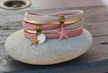 """reservé """"maeva5 """" _ Bracelet 2 tours cordons satin et cuir """" étoile """" taupe, vieux rose, bronze, doré : Bracelet par lillicrapote"""