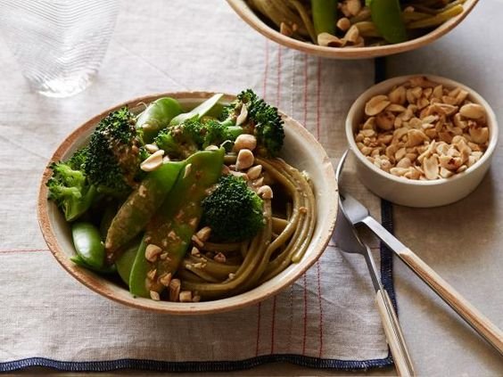 Get Aromatic Noodles With Lime Peanut Sauce Recipe from Food Network Ellie Krieger