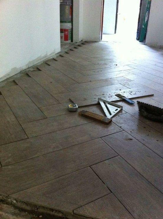 Wood Tiles For The Kitchens Floors Porcelain Tiles Herringbone