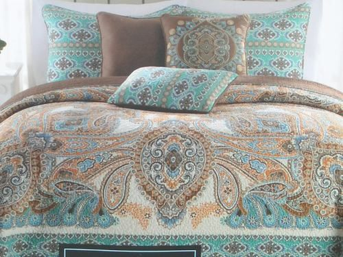 Cynthia Rowley Bedding Brown Blue Paisley