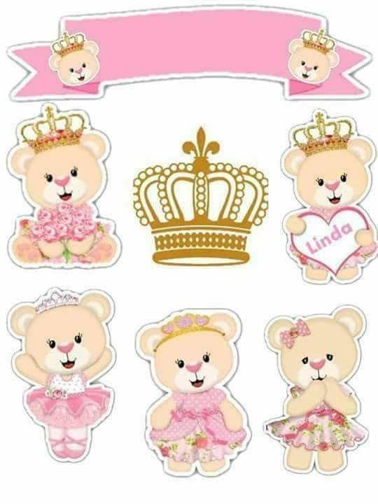 Teddy Bear Princess Free Printable Cake Toppers Com Imagens