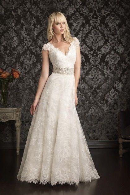 2013 Wedding Dresses A Line V Neck Court Train Lace Applique Beading & Sequins