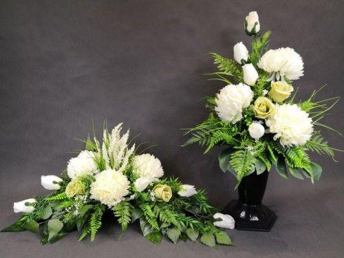 Y Chryzantemy Biale Roze Biale 1501 26 Stroik Bukiet Z Wkladem Komplet Na Grob Grave Decorations Floral Wreath Ikebana