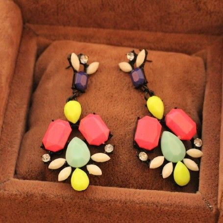 Fashion High quality Colorful Rhinestone drop earrings wholesale ! free shipping $1.97