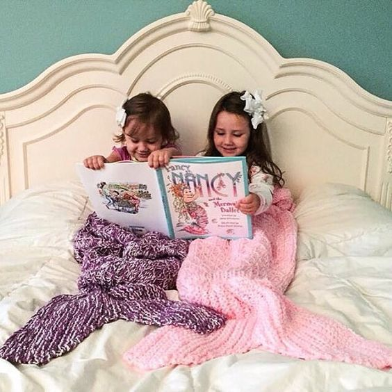 Children s Blanket Pattern Knitting : Mermaid Tail Lapghan Blanket Knitting Pattern for Children -- PDF 415 -- INST...