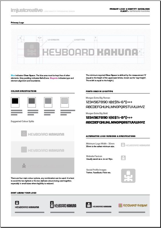 One page logo identity guideline for download from imjustcreative - it manual template