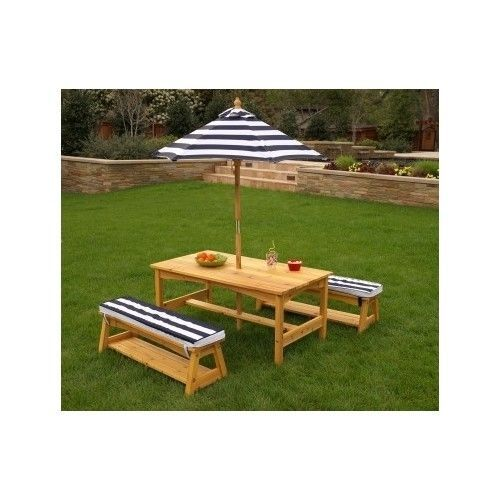 Portable Outdoor Table Chair Set Picnic Cushions Navy Stripes Patio Garden - NEW #KidKraft