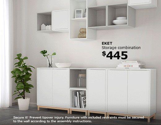 A White Eket Storage Combination Ikea Eket Eket Ikea