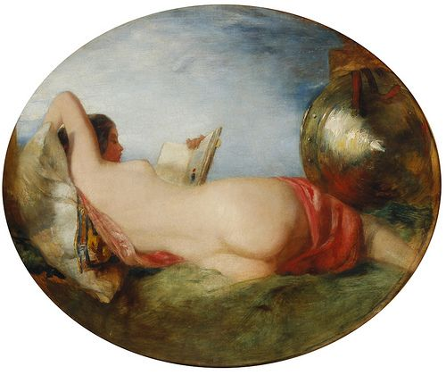 William Etty - Reclining nude reading, date? - England: