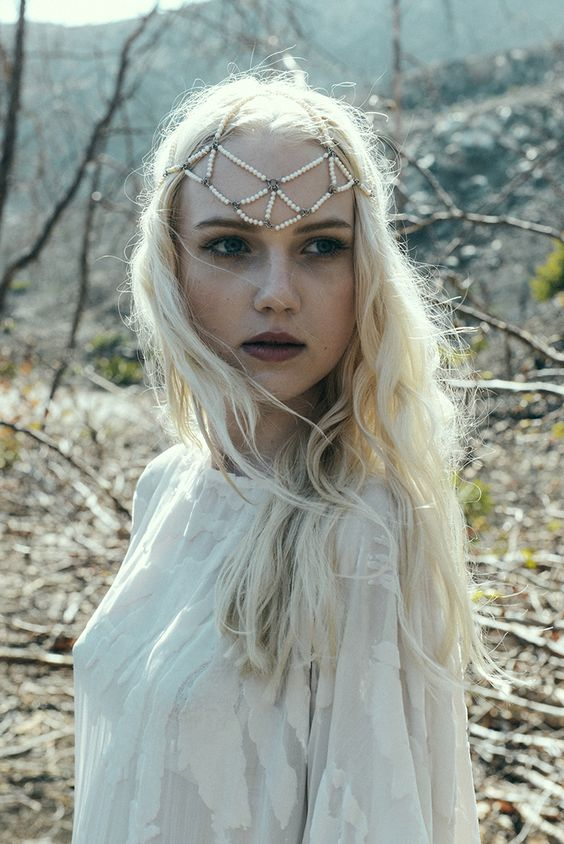 Bliss Lau Venus Pearl Head Piece with our Burn-Out Kimono