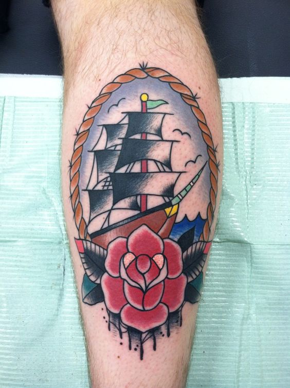 Traditional style ship on my right calf. Absolutely love it. Artist: Brenton Potter Shop: The Tattoo Factory, Bucyrus, Ohio Look them up on Facebook! He has a really nice clean and professional shop.
