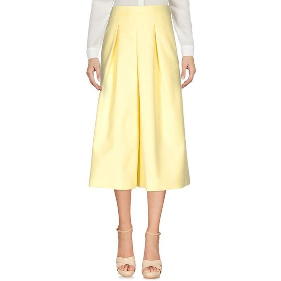 Frnch 3/4-length Trousers ($91) ❤ liked on Polyvore featuring pants, yellow, cotton pants, wide-leg trousers, high-waisted wide leg pants, zip pants and high-waisted trousers