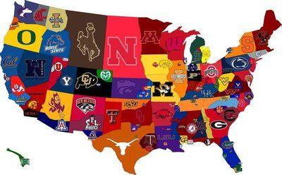 College Football Map: Sports Team, College Football, Football Team, U.S. States, United States