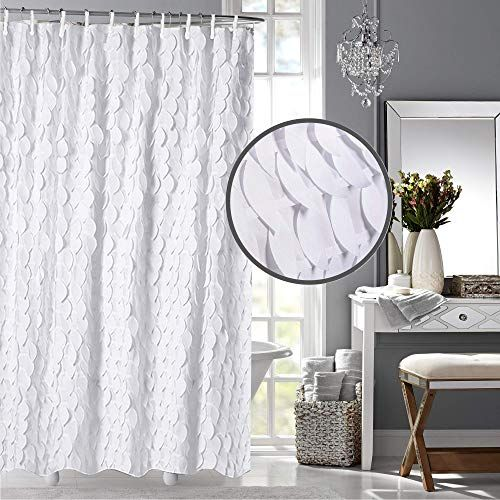 White Shower Curtain Liner With 12 Shower Curtain Hooks 72 X 72