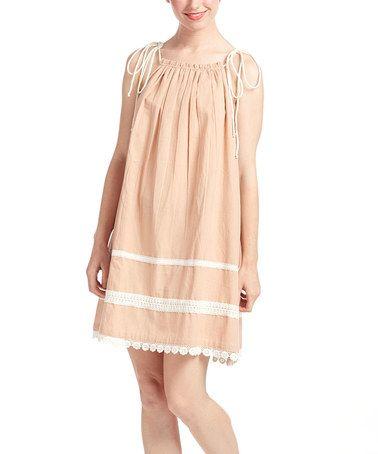 Blush Pink & White Lace-Accent Shift Dress - Women #zulily #zulilyfinds