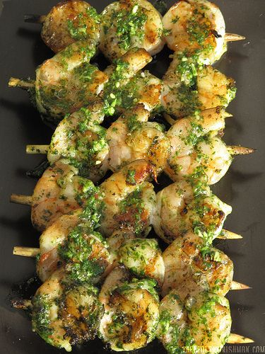 Grilled Cilantro Pesto Shrimp