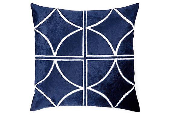 Drant 18x18 Velvet Pillow Cover, Blue on OneKingsLane.com