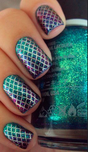 Scales, Mermaid Nails, Shiny, Metallic, Purple Green Blue and Pink. Could try this with fishnets, lace or any other fabric design if I don't want to make a stencil.