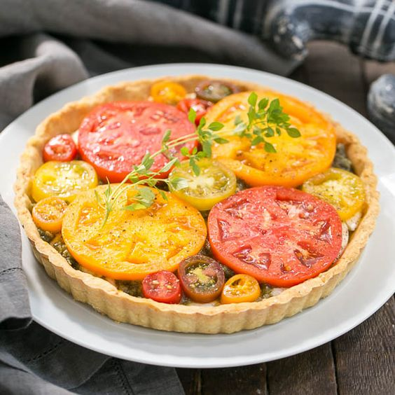 Fresh Tomato Tart with a Parmesan crust, provolone, fresh mozzarella ...