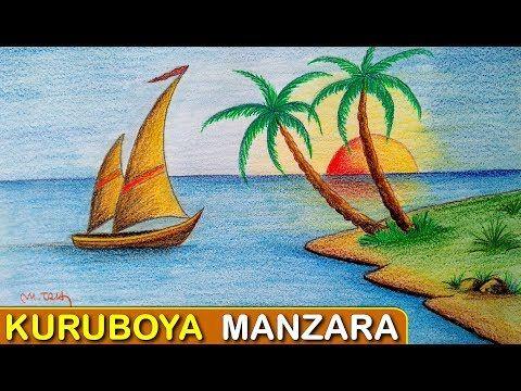 Kuru Boya Deniz Manzarasi Ve Yelkenli Nasil Cizilir How To Draw A Island Sea Sailboat Palm Youtube 2020 Cizim Egitimleri Cizimler Resim