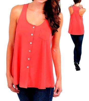 Dark Coral Racer Back Button Up Blouse - Size XL 2XL 3XL - Check size chart - NEW - Free Shipping