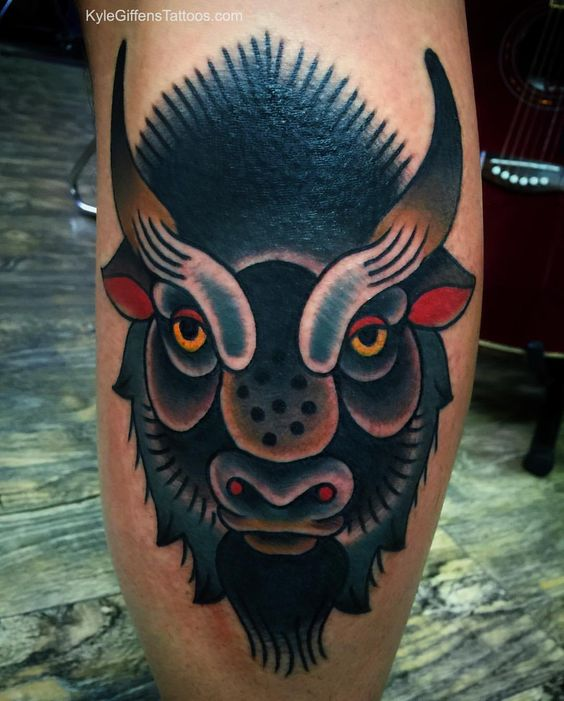 Buffalo bison tattoo by kyle giffen at little pricks for Traditional bison tattoo