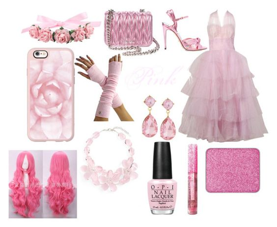 """""""Pink"""" by twinkleheartrai ❤ liked on Polyvore featuring Gucci, Miu Miu, Casetify, Emily & Ashley, Natasha Couture, OPI and shu uemura"""