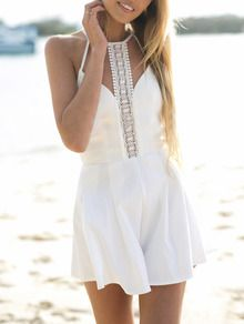 White Spaghetti Strap With Lace Playsuit US$24.99