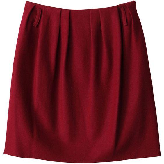 【ELLE SHOP】ツイルジャージースカートバーガンディ|フローレント(FLORENT)|ファッション通販 エル・ショップ ($190) ❤ liked on Polyvore