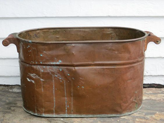 Antique copper boiler holds water large primitive for Copper water boiler